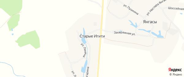 Карта деревни Старые Игити в Чувашии с улицами и номерами домов