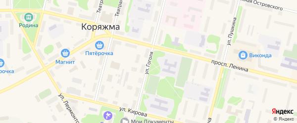 Улица Гоголя на карте Коряжмы с номерами домов