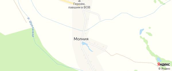 Луговая улица на карте поселка Молнии с номерами домов