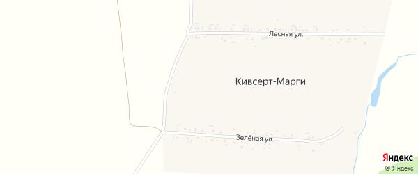 Зеленая улица на карте деревни Кивсерта-Марги с номерами домов