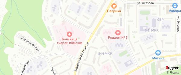Университетская улица на карте Чебоксар с номерами домов