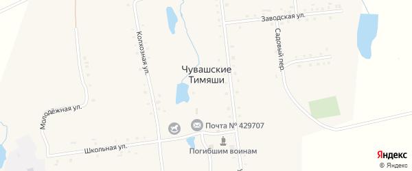 Молодежная улица на карте деревни Чувашские Тимяши с номерами домов