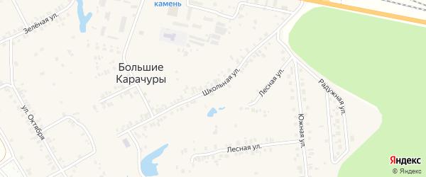 Школьная улица на карте деревни Большие Карачуры с номерами домов