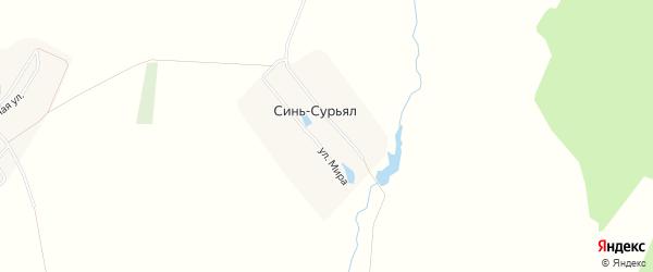 Карта деревни Сини-Сурьял в Чувашии с улицами и номерами домов