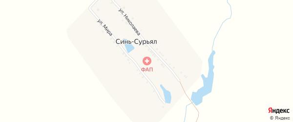 Улица Мира на карте деревни Сини-Сурьял с номерами домов