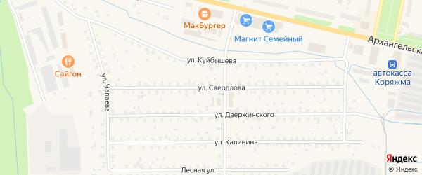 Улица Свердлова на карте Коряжмы с номерами домов