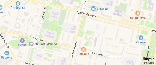 Улица Пушкина на карте Коряжмы с номерами домов