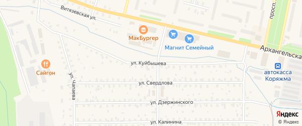 Улица Куйбышева на карте Коряжмы с номерами домов