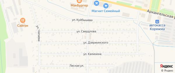 Улица Строителей на карте Коряжмы с номерами домов