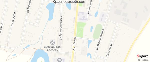 Улица Ленина на карте Красноармейского села с номерами домов