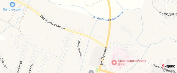 Первомайская улица на карте Красноармейского села с номерами домов