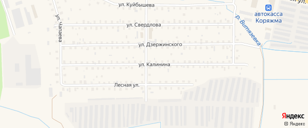 Улица Калинина на карте Коряжмы с номерами домов