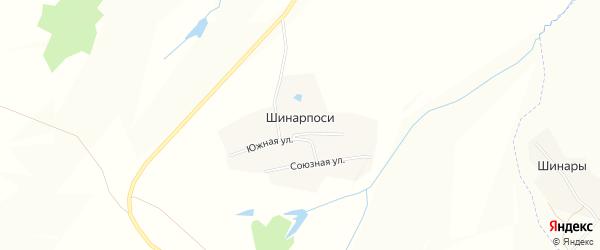 Карта деревни Шинарпосей в Чувашии с улицами и номерами домов