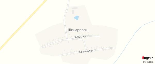 Южная улица на карте деревни Шинарпосей с номерами домов