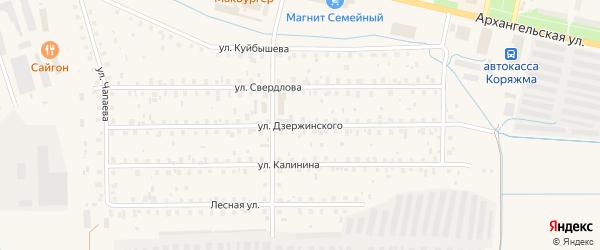 Улица Дзержинского на карте Коряжмы с номерами домов