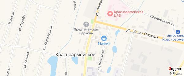 Комсомольский переулок на карте Красноармейского села с номерами домов