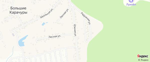Южная улица на карте деревни Большие Карачуры с номерами домов