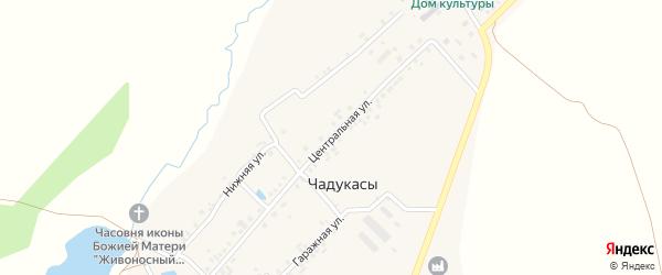 Центральная улица на карте деревни Чадукасы с номерами домов