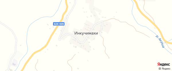 Сельская улица на карте хутора Инкучимахи с номерами домов