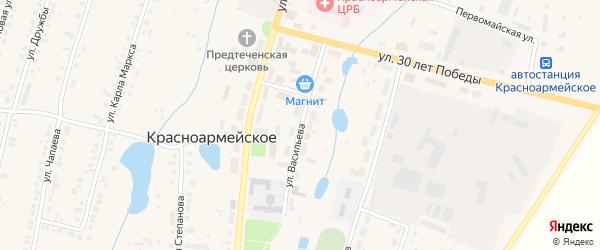Улица Васильева на карте Красноармейского села с номерами домов
