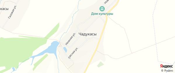 Карта деревни Чадукасы в Чувашии с улицами и номерами домов