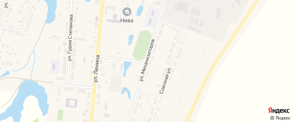 Улица Механизаторов на карте Красноармейского села с номерами домов
