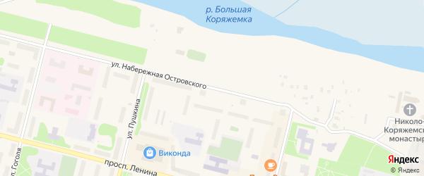 Улица Набережная им Н.Островского на карте Коряжмы с номерами домов