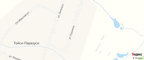 Улица Пушкина на карте деревни Тойси-Паразуси с номерами домов