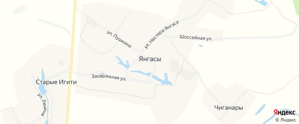 Карта деревни Янгасы в Чувашии с улицами и номерами домов