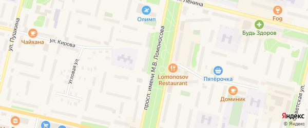 Проспект Имени М.В.Ломоносова на карте Коряжмы с номерами домов