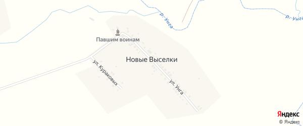Улица Унга на карте деревни Новые Выселки с номерами домов