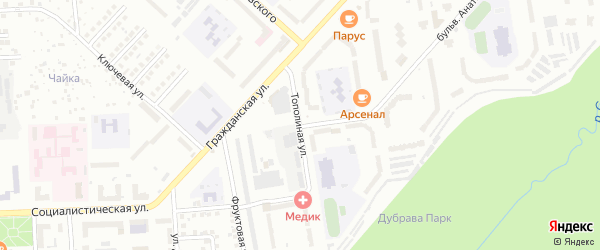 Тополиная улица на карте Чебоксар с номерами домов