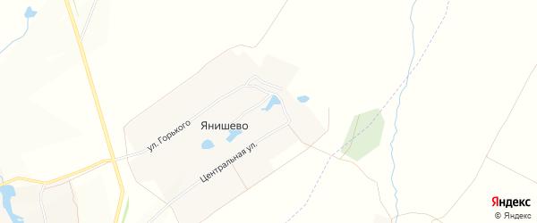Карта села Янишево в Чувашии с улицами и номерами домов