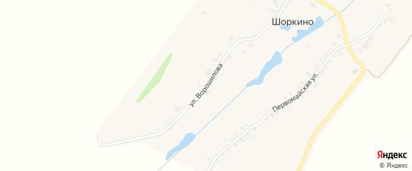Улица Ворошилова на карте деревни Шоркино с номерами домов