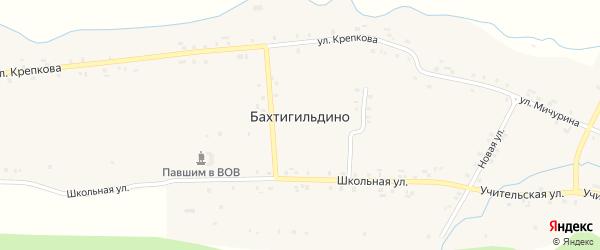 Комсомольская улица на карте деревни Бахтигильдино с номерами домов