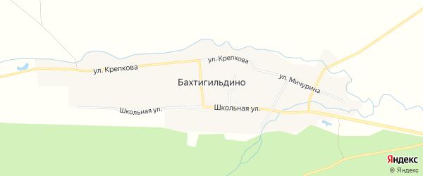 Карта деревни Бахтигильдино в Чувашии с улицами и номерами домов