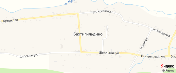 Кирпичная улица на карте деревни Бахтигильдино с номерами домов