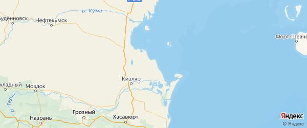 Карта Кизлярского района республики Дагестан с городами и населенными пунктами