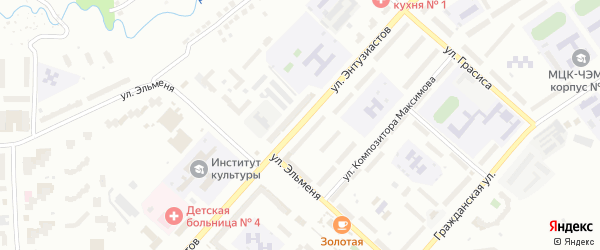 Улица Энтузиастов на карте Чебоксар с номерами домов