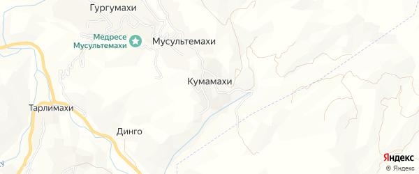 Карта хутора Кумамахи в Дагестане с улицами и номерами домов