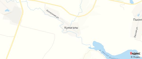 Карта деревни Кумагалы в Чувашии с улицами и номерами домов