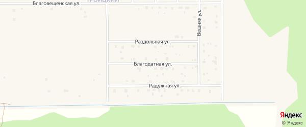 Благодатная улица на карте Коряжмы с номерами домов