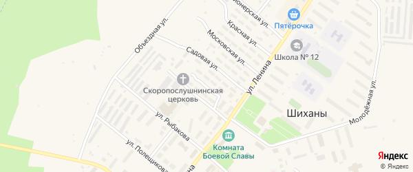 Садовый переулок на карте Шиханы с номерами домов