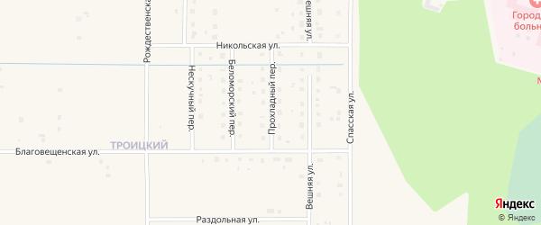 Прохладный переулок на карте Коряжмы с номерами домов