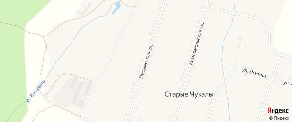 Пионерская улица на карте деревни Старых Чукалы с номерами домов