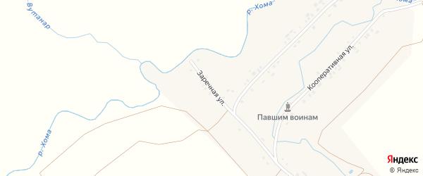 Заречная улица на карте деревни Нижнее Кляшево с номерами домов