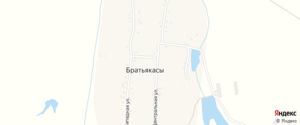 Западная улица на карте деревни Братьякас с номерами домов