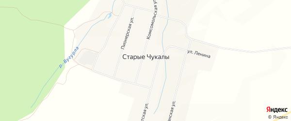 Карта деревни Старых Чукалы в Чувашии с улицами и номерами домов