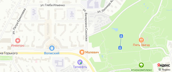 Улица Спортсмена Валериана Соколова на карте Чебоксар с номерами домов