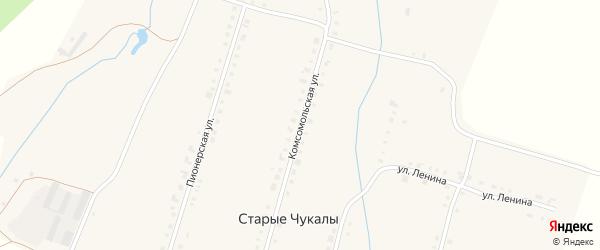 Комсомольская улица на карте деревни Старых Чукалы с номерами домов